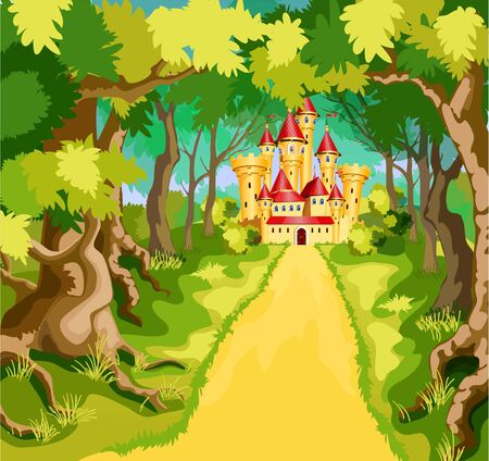 Huge house at the end of the forest road illustration. Çizim