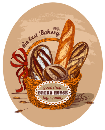 The basket is decorated with a red bow and lable. Ears of wheat. Handmade sketch.