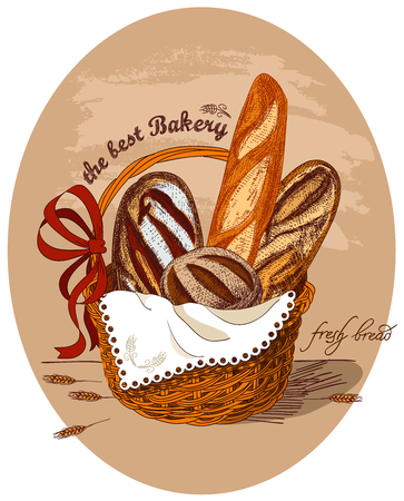 The basket is decorated with a red bow and white lace napkin. Ears of wheat. Handmade sketch.