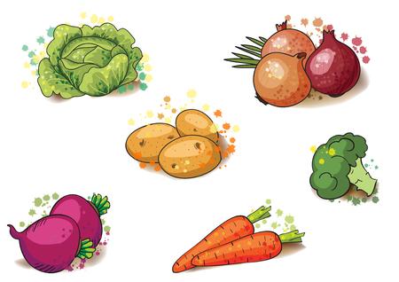 Vegetable set for your design. Healthy vegetarian food. Hand-drawn sketch.