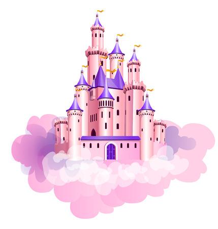 Ilustracja wektorowa różowego magicznego zamku księżniczki w chmurach. Ilustracje wektorowe