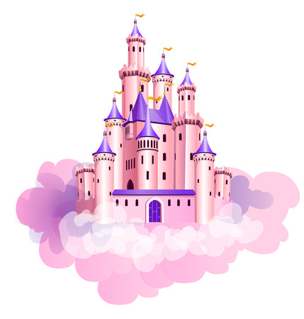 The vector illustration of pink princess magic castle in clouds. Vectores