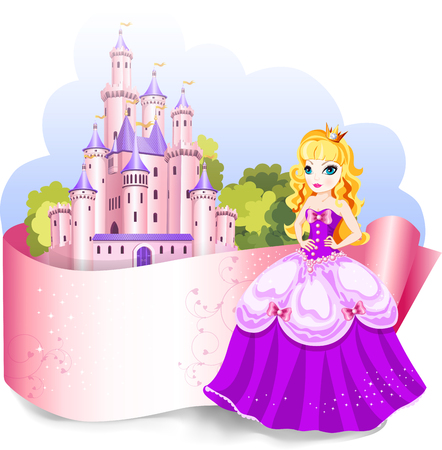 Princess design element for cover or pack frame for your title and text. Illustration