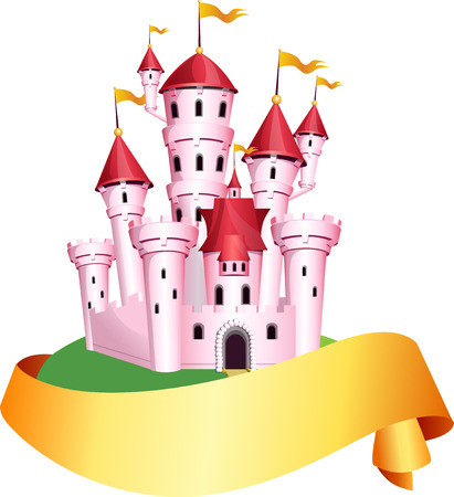 Pink castle with paper banner fo yours text. Illustration