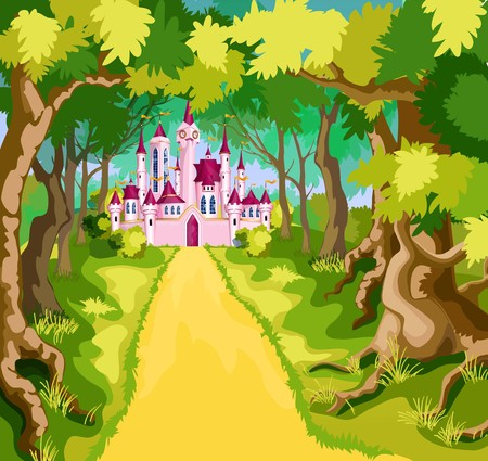 Pink tale castle in green path. Vectores