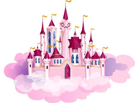 The vector illustration of pink princess magic castle in a clouds.