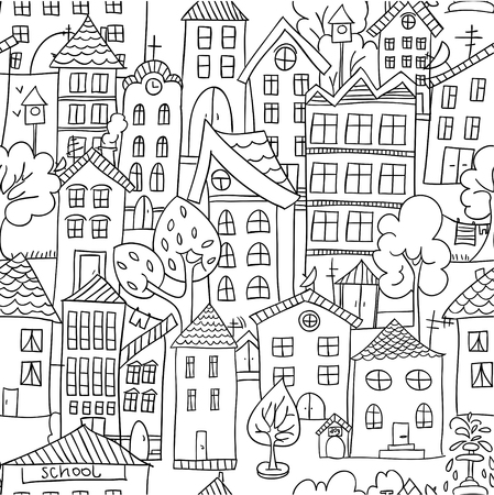 Town seamless pattern. Hand drawn page for coloring book with a lot of houses.