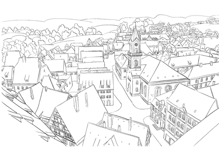 Coloring page with nice small town.