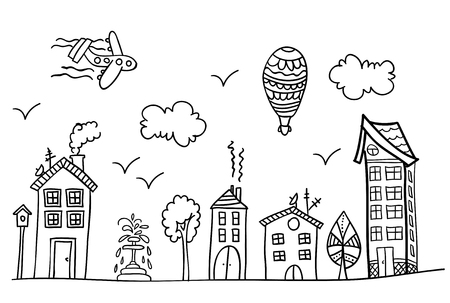 Sketch of town street. Coloring book page.