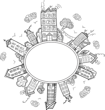 Ellipse town frame. Hand draw doodle stile. Label for coloring book.