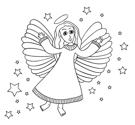 Sketch of angel with stars. Page for coloring book. Hands draw work in doodle stale. Black and wight colors.