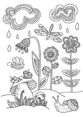 Coloring book page with forest glade in the doodle style. Snail, mushrooms and dragonfly. snail, mushrooms, dragonfly.