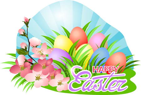 Happy Easter day greeting with blooming twig and painted eggs in green grass.