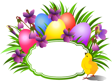 Bright Easter congratulatory teg with violets and poult. Illustration