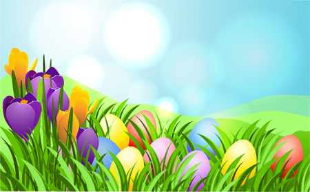 Easter sunbeam card with eggs in green grass.