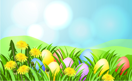 Easter sunbeam card with painted eggs in green grass.  イラスト・ベクター素材