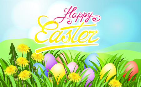 Easter sunbeam card with painted eggs in green grass. Illustration