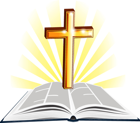 Christian Holy Writ with gold cross and divine light.