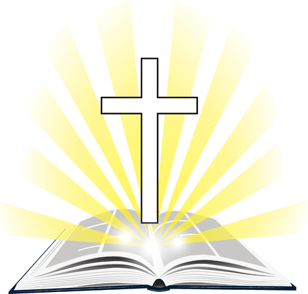 Christian Holy Writ with cross.