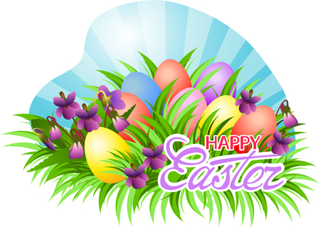 Happy Easter card with blossoming violet and painted eggs in green grass. Illustration