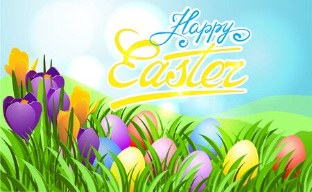 Easter sunbeam card with eggs in green grass and flowering primrose.