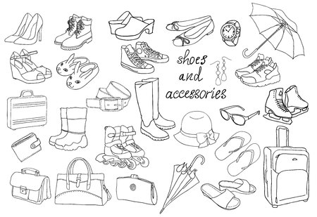 A large set of different types of shoes and accessories. Coloring book page. Vectores