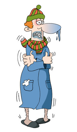 The vector illustration of a sick man with a cold. Hand drawn caricature.