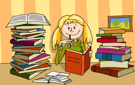 The vector illustration of a girl with blond hair who is studying. Vettoriali