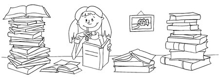 The vector illustration of a girl who is studying. She is sitting at the table, between large piles of books and reading. Horizontal composition, black and white sketch, coloring book page. Vettoriali