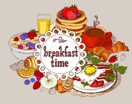 Vector banner. Breakfast time. Illustration
