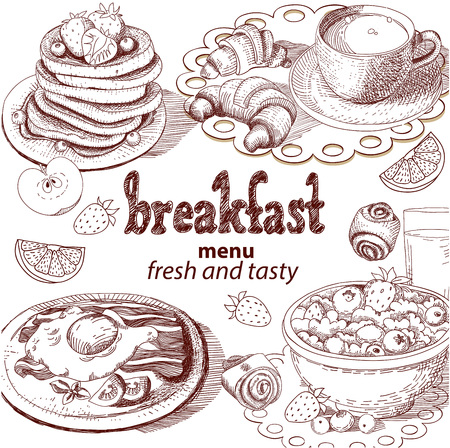 Sketch breakfast menu isolated on light background