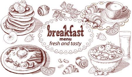 Sketch breakfast menu. Illustration