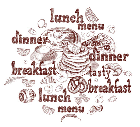 Background for menu of restaurants and cafe. Elements for your design. Hand drawn sketch in doodle style.