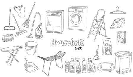 The vector illustration in doodle style, hand drawn sketch in black and white colors with inscription. A set of different appliances, things and devices for household. Coloring book page.