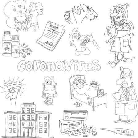 The set of comic sketches on the theme of coronavirus.