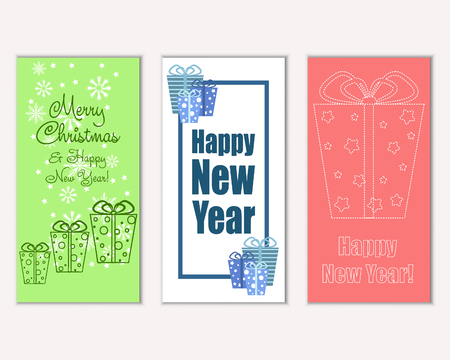 Vector illustration of Merry Christmas and Happy New Year greeting cards Vector Illustration