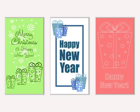 Vektorillustration von Grußkarten der frohen Weihnachten und des guten Rutsch ins Neue Jahr Vektorgrafik