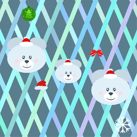 new year card bow bear christmas ball snowflake santa hat vector background Vettoriali