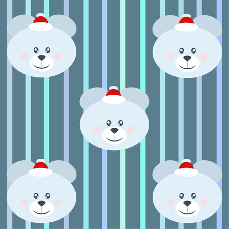 new year card bow bear christmas ball snowflake santa hat vector background illustration