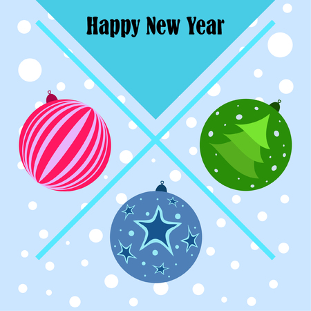 Christmas balls, New Year greeting card, vector background Banque d'images - 121401672