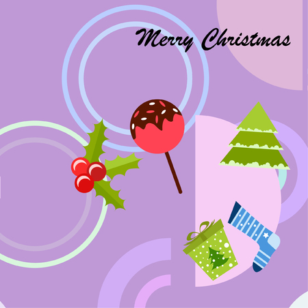 christmas card, candy fir gift christmas sock, vector background Stok Fotoğraf - 127185471