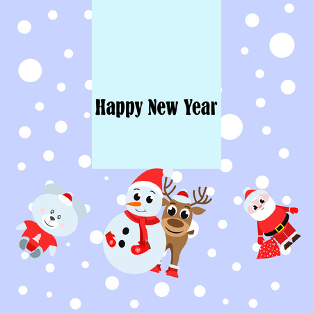 Carte de Noël, sac d'ours de cerf de Santa snowman, fond de vecteur Vecteurs