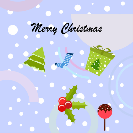 christmas card, candy fir gift christmas sock, vector background Stok Fotoğraf - 127149446