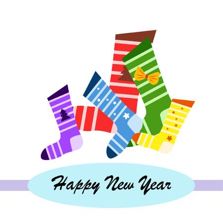 tarjeta de navidad, calcetín de navidad, fondo de vector