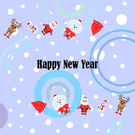 Cartolina di Natale, Babbo Natale pupazzo di neve cervo orso borsa, sfondo vettoriale vector