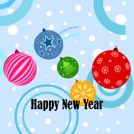 Christmas balls, New Year greeting card, vector background