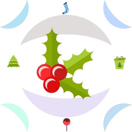 christmas card, candy fir gift christmas sock, vector background