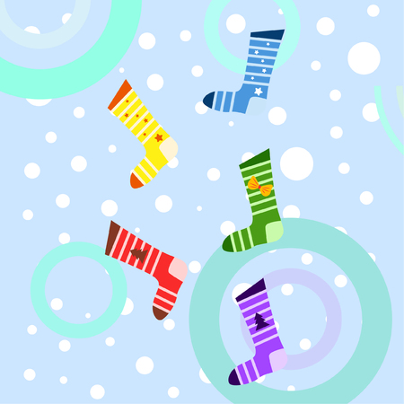 christmas card, christmas sock, vector background Stok Fotoğraf - 127076485