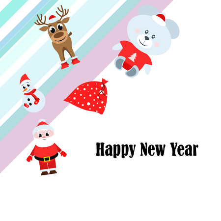 Christmas card, Santa snowman deer bear bag, vector background