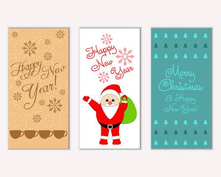 Ilustración de vector de tarjetas de felicitación de vacaciones de invierno